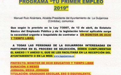 Programa «Tu primer empleo 2019»