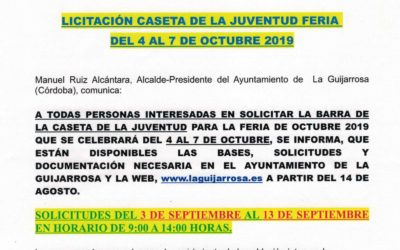 Licitación Caseta de la Juventud Feria Octubre 2019