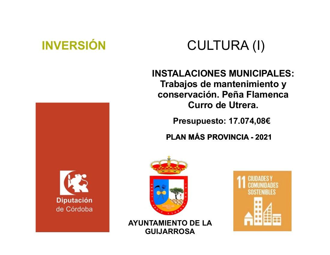 CARTEL PLAN MAS PROVINCIA. INSTALACIONES MUNICIPALES Trabajos de mantenimiento y conservación. Peña Flamenca Curro de Utrera.